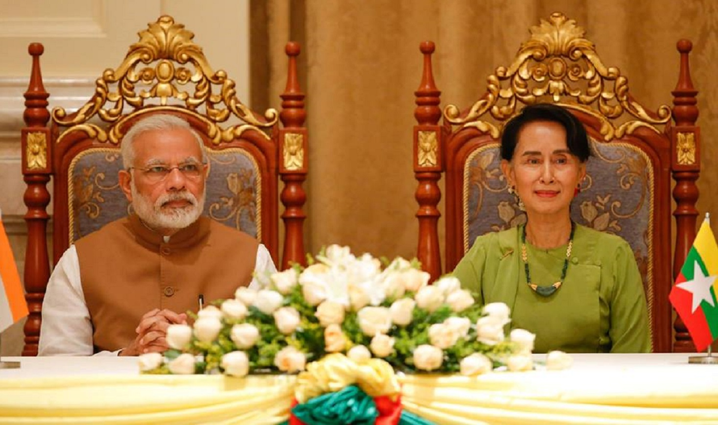 The State CounsellorDawAung San SuuKyi holds talks with India's Modi