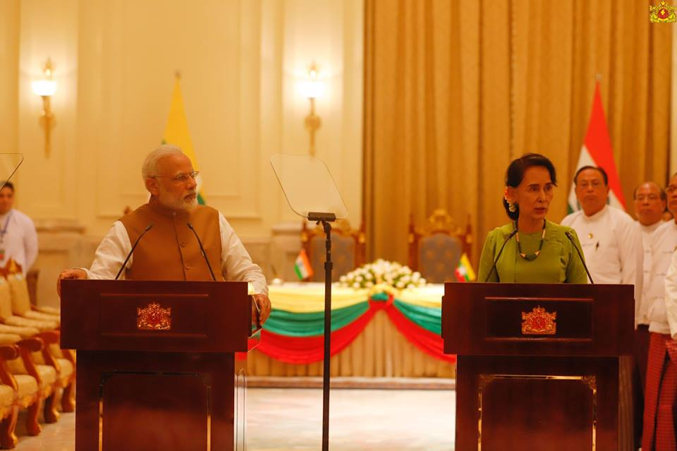 Prime Minister during the joint media briefing with the State Counsellor of Myanmar